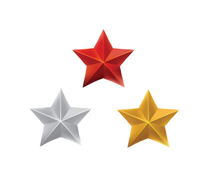Red, silver and gold stars, war hero medal rewards, vector eps10 illsutration isolated on white background.