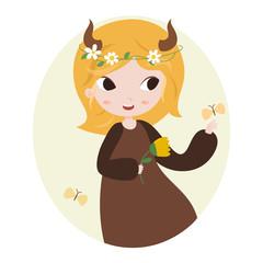 Cute horoscope. Zodiac signs. Taurus.