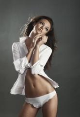 Attractive naked brunette girl