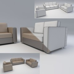 modern sofa and armchair