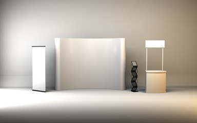 Trade exhibition stand, Exhibition Stand round, 3D rendering