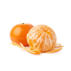 Served juicy tangerine fruit composition isolated over the white background