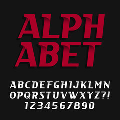 Decorative alphabet vector font. Oblique type letters and numbers. Stock vector typography for headlines, posters etc.