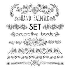 SET Hand-Painted decorative border.Garfishes elements of pen and ink. Blank labels, labels, badges and postcards. Graphics Doodle flowers, twigs and leaves.A monochrome vector bundle