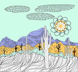 landscapes with cactus and  mountain background for coloring pag