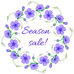 Floral frame, wreath design element. Season sale retro banner