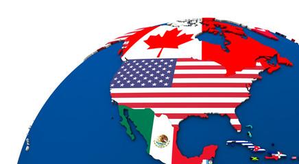 Political north America map Wall mural