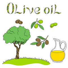 Olive oil graphic art color isolated illustration vector