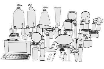 2d cartoon illustration of cosmetics