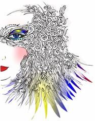 abstrakcyjna kompozycja z kolorowym okiem,