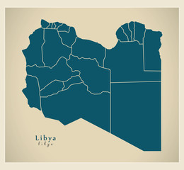 Modern Map - Libya with districts LY