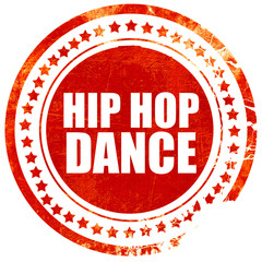 hip hop dance, grunge red rubber stamp with rough lines and edge