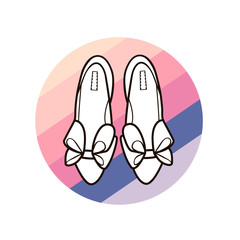 Women's shoes on striped circle background