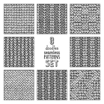 Vector set of various doodles stitch patterns.