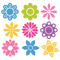 Set of colorful isolated vector flowers icons