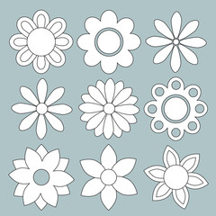 Set of isolated vector flowers icons
