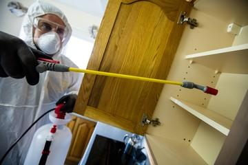 Pest control man spraying pesticide