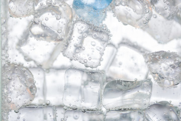 Close up of ice cubes in water