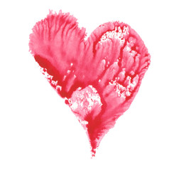 raspberry pink heart painted in watercolor
