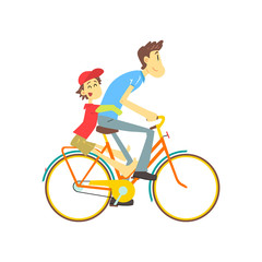 Father And Son On Bicycle