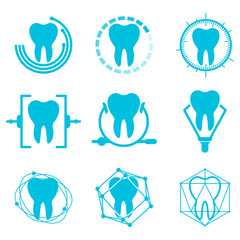 Set of vector dental logos templates. Abstract vector teeth signs. Abstract stomatology vector signs. Collection of healthy teeth logo and icons