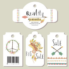 Light green gold pink tag sale in boho style on summer