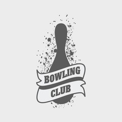 Bowling club logo, label or symbol design template with pin and grunge effect