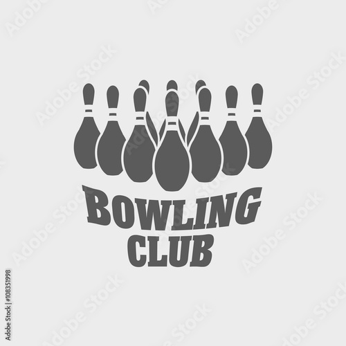 bowling club logo label or symbol design template with bowling pins