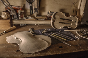 A violin under costruction on a violinmaker's workshop in Napoli - Italy