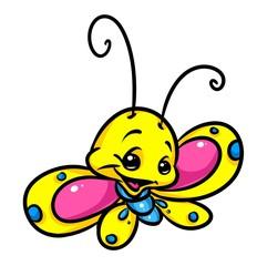 Yellow little butterfly cartoon illustration