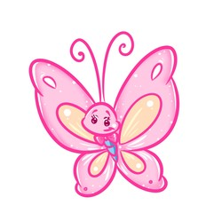 Pink butterfly cartoon illustration isolated image animal character