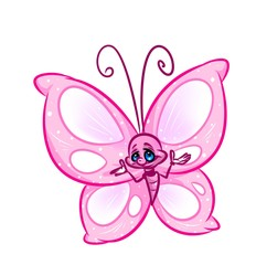 Pink butterfly cartoon illustration image