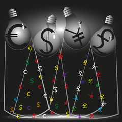 Illustration of four financial stream Illustration in style infographics on a black background Four financial stream four bulbs currency symbols of the world emit light that weaves its threads