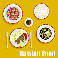 Tasty dinner of russian cuisine flat icon