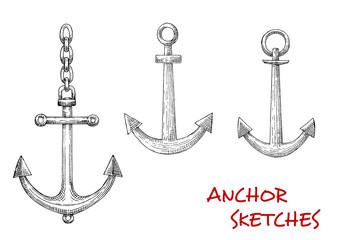Retro sketches of navy heraldic anchors
