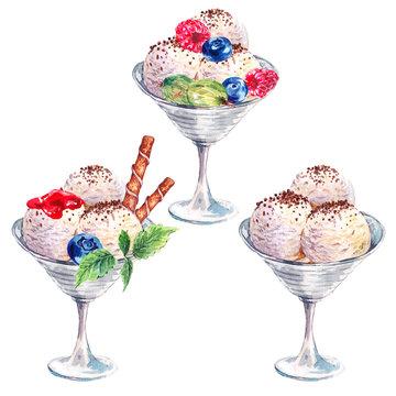 Collection watercolor balls of ice cream sundae