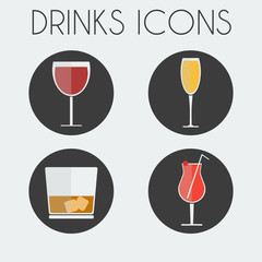 Drinks Cocktail Glasses Round icon Set. Wine Glass, Champagne Glass, Whisky Glass with Ice Cubes and Hurricane Cocktail Glass with Cherry and Straw. Digital background vector illustration.