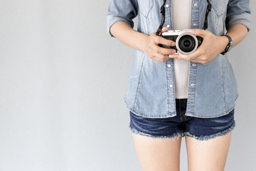 hipster traveler photographer girl