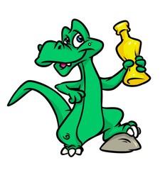 Dinosaur drink bottle cartoon illustration isolated image animal character