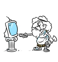 Ancient Greek television technology cartoon illustration