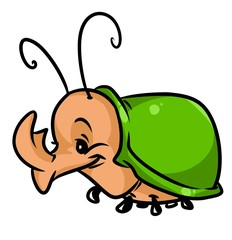 Beetle rhinoceros insect cartoon illustration