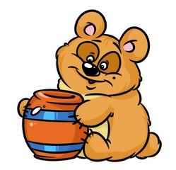 Bear honey keg cartoon illustration isolated image animal character