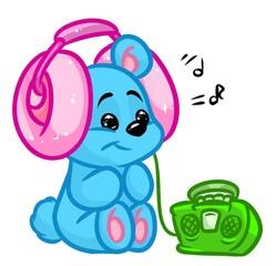 Little Bear likes music cartoon illustration