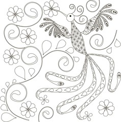 Zentangle stylized bird black and white hand drawn vector illustration