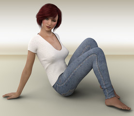 3D rendering of young woman.
