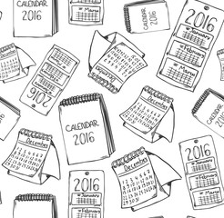 Calendar doodle pattern 2016. Hand drawn sketchy seamless pattern with different calendars.
