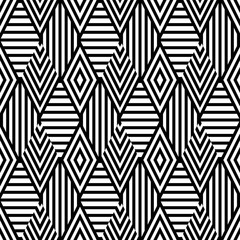 Vector seamless pattern with black and white striped rhombus. Abstract universal background. Trendy design for fashion textile print, wrapping paper, web background, package.