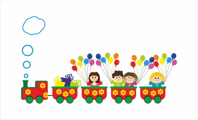 Children in train with baloons and presents