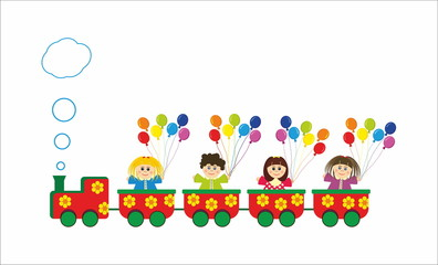 children in train with colorful rainbow baloons