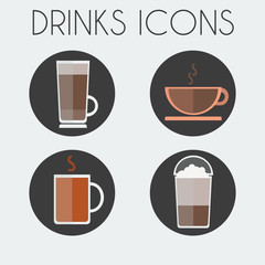 Hot Drinks Cups Round icon Set. Tea Cup, Coffee With Steam, Latte Macchiato in Plastic Glass with Lid. Digital background vector illustration.